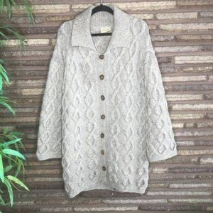 New Zealand Vintage Cable Knit Sweater Coat